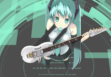 Hatsune Miku - pretty, stunning, cg, thigh highs, nice, anime, aqua, beauty, anime girl, vocaloids, art, twintail, skirt, black, miku, singer, aqua eyes, cute, headset, hatsune, cool, guitar, digital, awesome, white, idol, guitar pick, artistic, hatsune miku, headphones, tie, beautiful, thighhighs, program, twin tail, blue, vocaloid, outfit, amazing, music, diva, microphone, leggings, song, girl, stockings, uniform, virtual, aqua hair