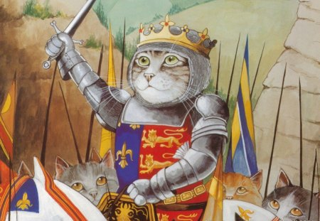 QUEEN OF CATS - sword, horse, cats, trees