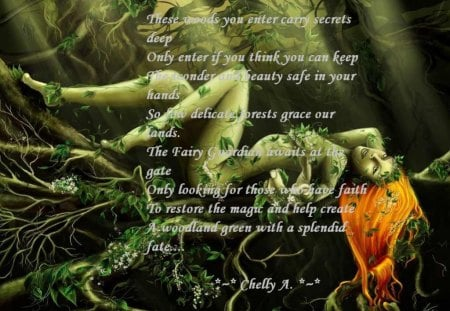 Yad a fairy forest... - a tree, poem, a woman, vine