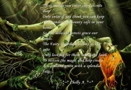 Yad a fairy forest... - poem, a woman, a tree, vine