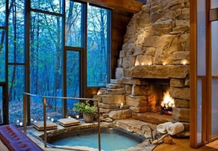 Fireplace in jacuzziroom - fireplace, architecture, jacuzzi, house