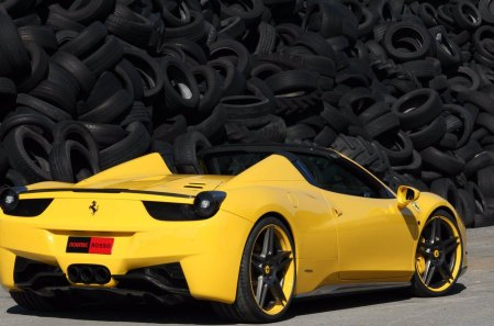Ferrari 458 Spider - tires, italy, yellow, ferrari