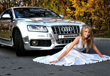 Audi A5 Chrome - a5, autumn, chrome, foliage, audi, girl, car, auto, white dress, shiny