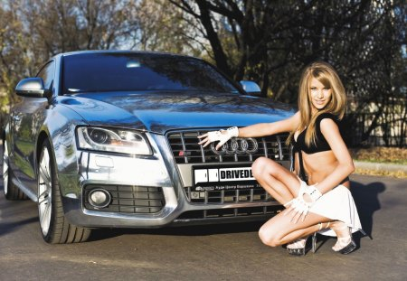 Audi A5 - a5, autumn, chrome, foliage, audi, girl, car, auto, shiny