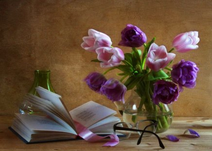 Still life - flowers, harmony, ribbon, nice, vase, book, bouquet, beautiful, lovely, purple, pages, glasses, pretty, still life, delicate, violet