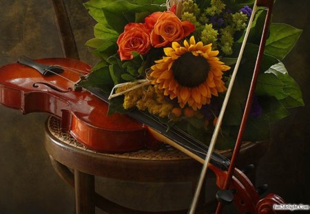 SOUNDS OF SILENCE - still life, sunflowers, violins, musical instruments, chairs, flowers