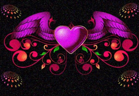 Heart with Wings - love heart, angel wings, romance in the air, heavenly heart