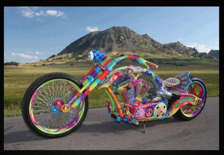 Bike of peace - color, peace, road, bike, fun, moutain, funny