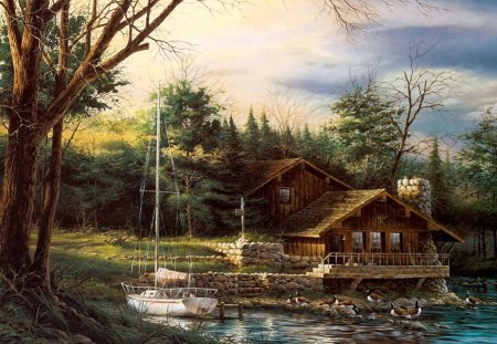 Lake Scenery - painting, nature, trees, boat, cabin