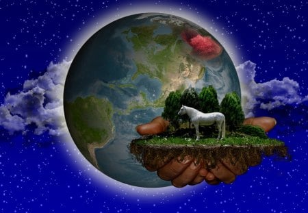 The Hand of the Creator - earth, planet, hand, horse, trees