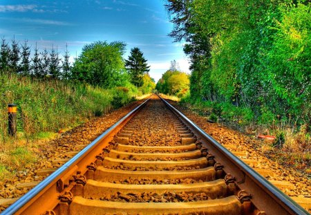 Railroad - sunny, rails, greenery, clouds, sky, railroad, beautiful, road, country, nature, tree