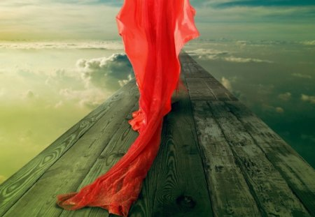 In Quest of her Dreamland - dress, red, wood, path