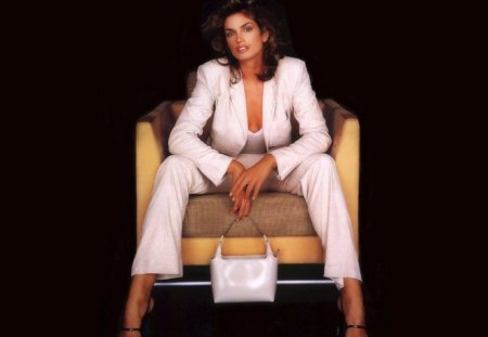 Cindy Crawford - elegant lady - sensual, pretty, chic, elegance, famous, beauty, chair, face, long hair, big hair, exciting, star, celebrity, sexy, lips, classy, makeup, eyes, fashion, white, stylish, splendid, beautiful, woman, elegant, cindy crawford, photography, supermodel, light, legs, tempting, handbag, hat, brunette, passion, shiny