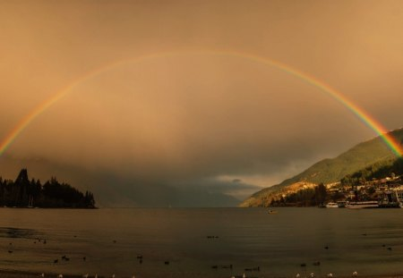 The Rainbow over the Lake - distance, lovely, travel, camera, rainbow, sky, lake, new zealand, photography, vast sky, air, queenstown, happy morning, awesome, nature, morning