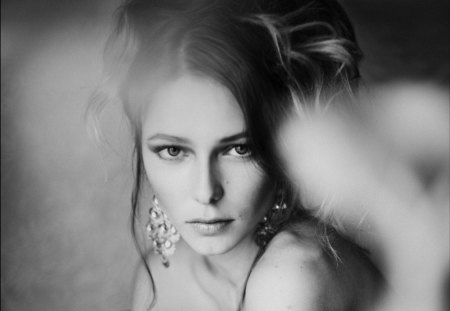 Eternality's Eyes - beautiful, think, woman, feel, face, portrait, black and white, eyes