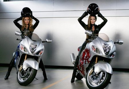 women on motorcycles - helmets, silver, girls, bikes