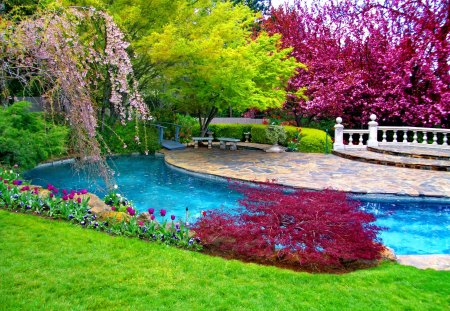 Place to relax - grass, relax, pool, rest, paradise, park, blooming, blossoms, pleasant, place, blue, bridge, water, nice, summer, trees, beautiful, lovely, spring, pretty, green, bushes, garden, leaves