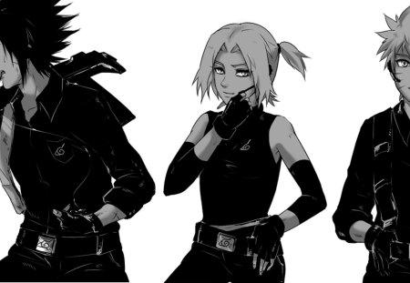 Черно белые арты аниме парни 3