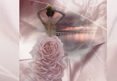 pink fantasy - woman, rose, tenderness, pink, abstract