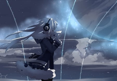 Some Thing Never Get Old - clothes, girl headphones, wind, anime, planat, sky, letter