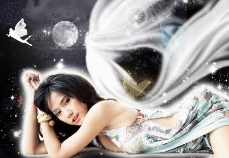 Elegant Fantasy - white dress, fantasy, lady, fairy
