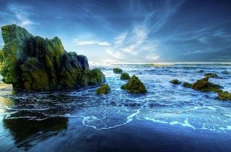 beautiful peaceful beach hde - hdr, moss, surf, beach, rocks