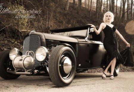 Pinup girl - car, road, girl, photo