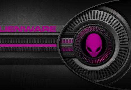 pink alien - logo, windows7, alienware, space, pink alien, alien
