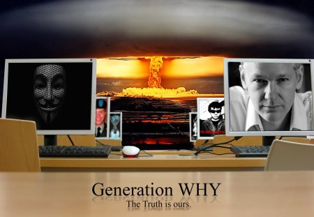 Generation WHY - julian assange, computers, topiary, jake davis, freedom, generation why, technology, pirate bay, wikileaks, bradley manning, hactivist, truth, anonymous, internet