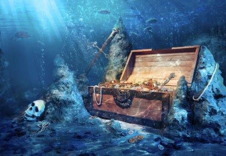 Underwater Treasure - water, treasure, ocean, under