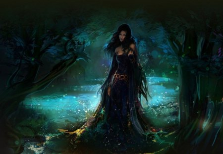 Fantasy Girl - cg, queen, tree, nature, forest, fantasy, woman, girl, art, green, black