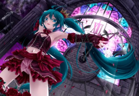 Hatsune Miku - pretty, stunning, cg, thigh highs, red rose, clock tower, nice, anime, tower, aqua, beauty, anime girl, vocaloids, art, twintail, skirt, black, miku, panties, chains, singer, sexy, aqua eyes, cute, hatsune, cool, digital, awesome, white, idol, red, artistic, rose, hatsune miku, armpit, module, beautiful, thighhighs, program, twin tail, hot, romeo and cinderella, singing, pink, cleavage, blue, vocaloid, outfit, amazing, music, fantastic, diva, clock, ecchi, project diva, microphone, song, girl, uniform, flower, petals, virtual, aqua hair