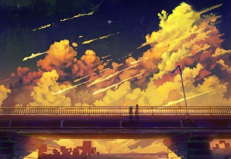 bridge - stars, scenic, bridges, clouds, artwork