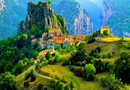 Village in high mountains - rocks, grass, cottage, rocky, beautiful, mountain, green, path, village, amazing, lovely, view, mountainscape, houses, high, roofs, greenery, town, sky, trees, summer, nature