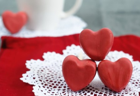 Romantic hearts - romance, valentine, love, chocolate, hearts