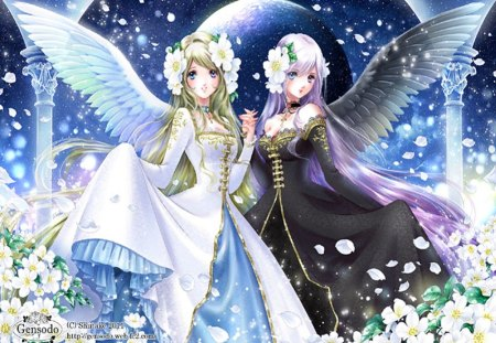 Angel Friendly - holding hand, web address, lace, blush, cherry blossom, nail polish, flower hair, angel wings, moon, black dress, hot, flowers, anime girl, long hair, friendly, female, wings, angel, gown, purple hair, smile, blonde hair, sexy, pillar, angel friendly, cool, petals, white dress