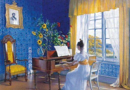 Blaa - sunshine through window, blue walls, woman, music, asta noerrestad painting