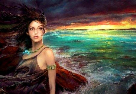 mystical ocean - fantasy, ocean, sky, girl, painting