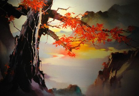 Japanese tree painting - painting, fantasy, tree, red