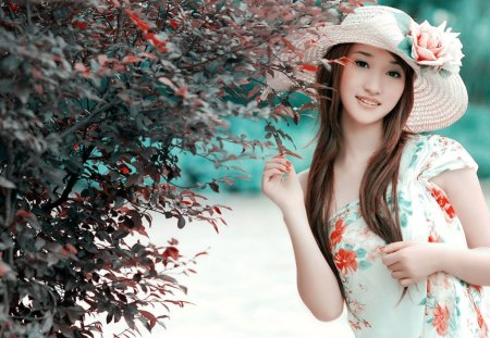 Pretty Asian Girl - pretty, lovely, girl, asian, pink, hat