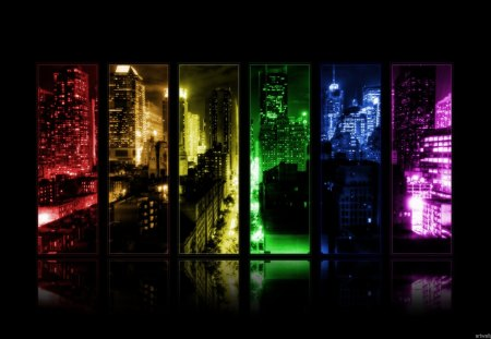 CITYSCAPE MULTI-COLOR PANORAMIC PANEL - rainbow, photography, panoramic, city, lights