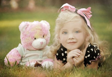 Girl with her teddy - girl, photo, teddy, cute