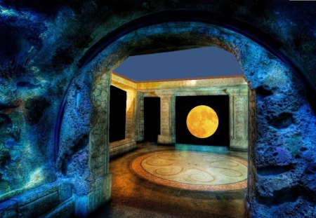 Better Caves and Gardens   - moon, rock, cave, window