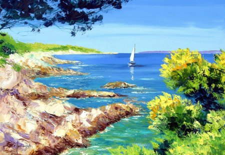 Sea Shore Painting - hills, white, lake, painting, sailboat, rocks, land, blue, sky, colors, water, boats, nature, trees, paint, clouds, green, bushes, shore, leaves