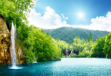 Deep Forest Waterfall - green, waterfall, sunshine, trees, lake, blue