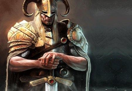 The Norsemen - viking, ram head, horned helmet, sword, man