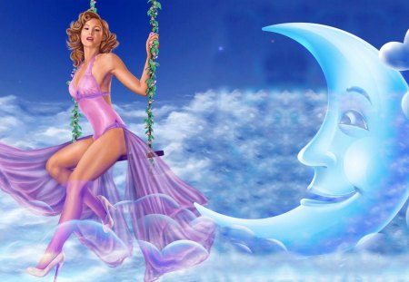 LADY SWING In The Moon Cloud - photoshop, blue, moon, purple, cartoon, white, cloud, woman, star, lady, sky