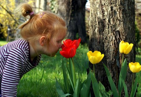 Innocence - perfume, little, girl, grass, tulips, trees