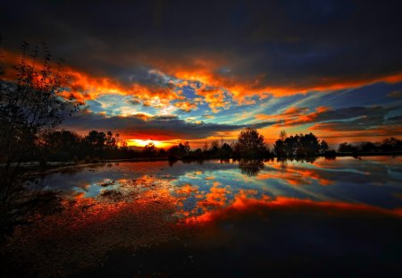 DRAMATIC SKY - nature, clouds, sky, lake, night, landscape