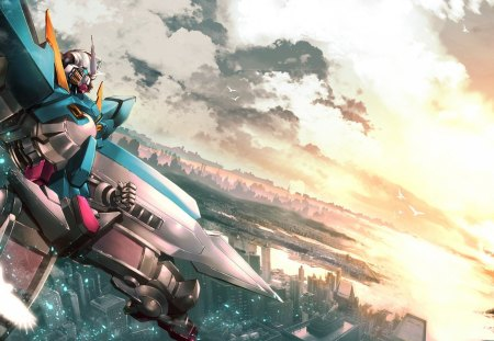 Gundam at sunset - gundam, robots, mecha, anime